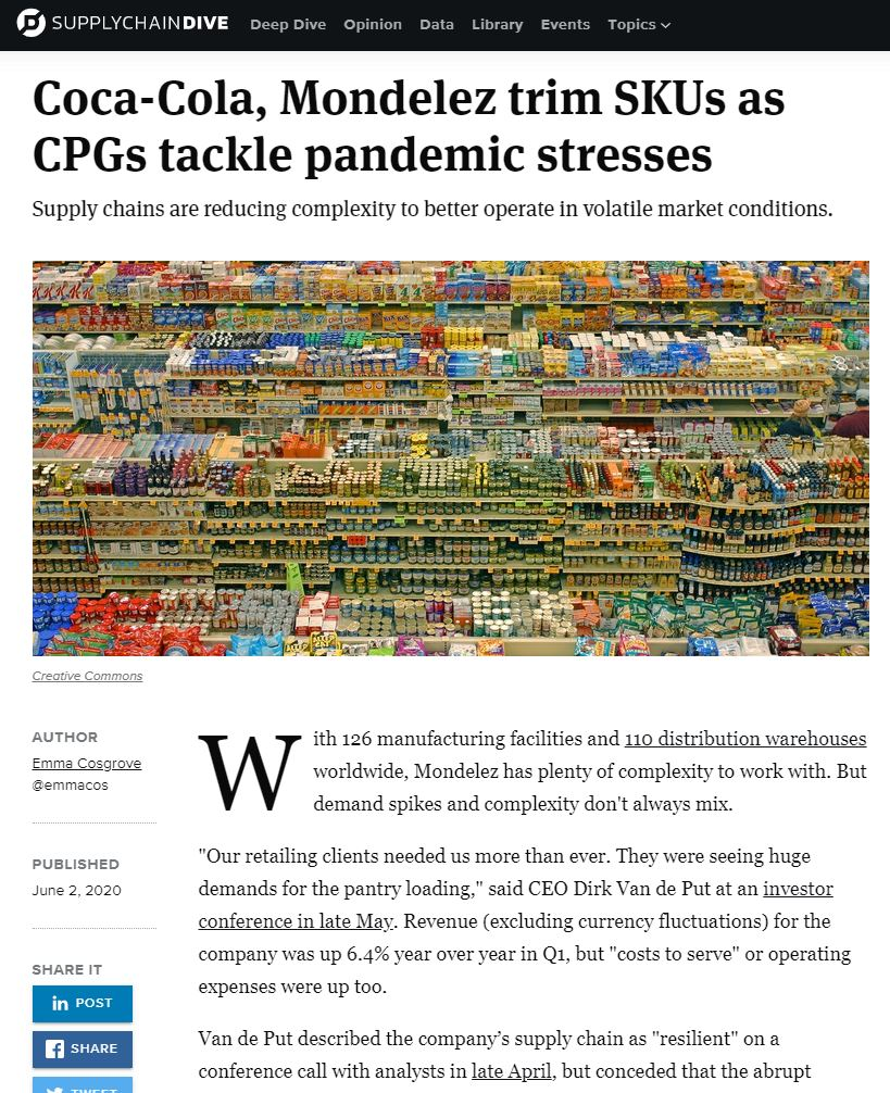 Coca-Cola, Mondelez trim SKUs as CPGs tackle pandemic stresses